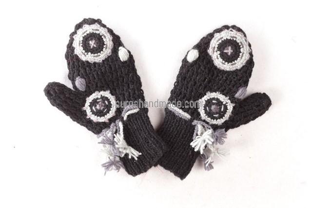 purna handmade collection woolen glove chatamari design