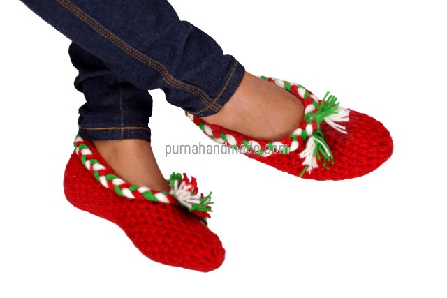 Purna Handmade Collection: woolen Shoes fancy design red Color