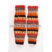 Purna Handmade Collection: woolen legwarmer butta design green color