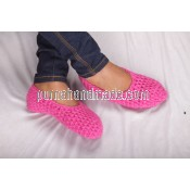 Purna Handmade Collection: woolen Shoes Plain design Pink Color
