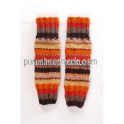Purna Handmade Collection: woolen legwarmer Tic design Orange Color